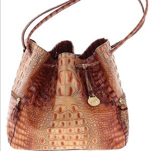 Brahmin Trina Drawstring Bucket Bag Pecan